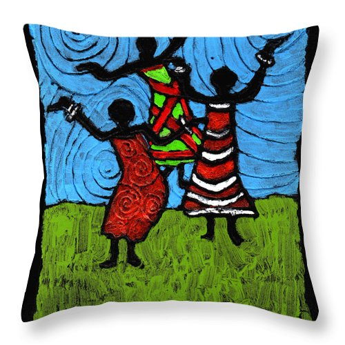 Black Art Throw Pillow featuring the painting Dancing So Good I Started To Fly by Wayne Potrafka