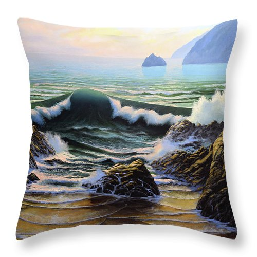 Dancing Tide Throw Pillow featuring the painting Dancing Tide by Frank Wilson