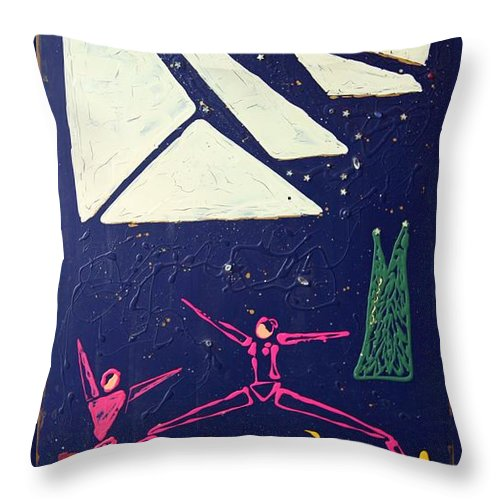 Dancers Throw Pillow featuring the mixed media Dancing Under The Starry Skies by J R Seymour