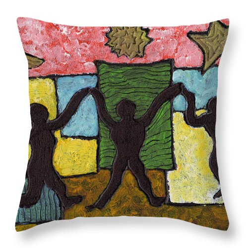Dancing Throw Pillow featuring the painting Dancing With The Stars...and The Sun And The Moon by Wayne Potrafka