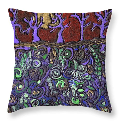 Trees Throw Pillow featuring the painting Dancing With The Trees by Wayne Potrafka
