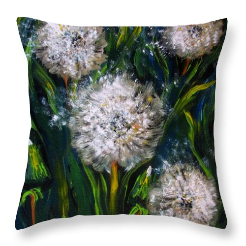 Flower Art Throw Pillow featuring the painting Dandelions Acrylic Painting by Natalja Picugina