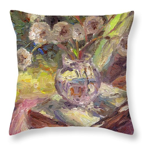 Dandelions Flowers Throw Pillow featuring the painting Dandelions Flowers In A Vase Sunny Still Life Painting by Svetlana Novikova