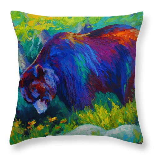 Western Throw Pillow featuring the painting Dandelions For Dinner - Black Bear by Marion Rose