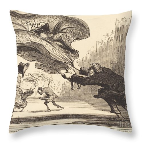Throw Pillow featuring the drawing Danger De Porter Des Jupons-ballons... by Honor? Daumier