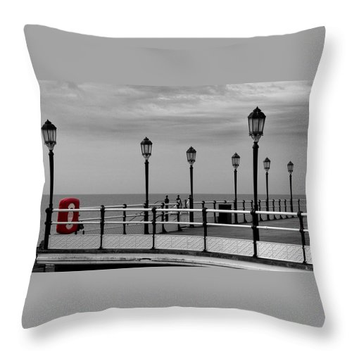 Red Throw Pillow featuring the photograph Danger - Lamp Posts by Hazy Apple