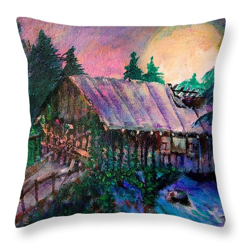 Dangerous Bridge Throw Pillow featuring the painting Dangerous Bridge by Seth Weaver