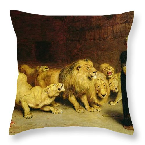 Daniel In The Lions' Den Throw Pillow featuring the painting Daniel In The Lions Den by Briton Riviere