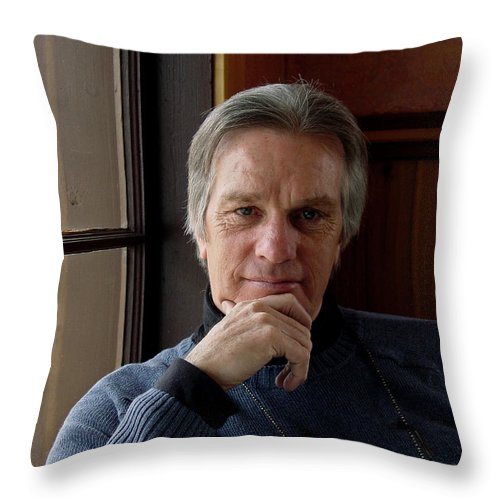 Portrait Throw Pillow featuring the photograph Dann by Lee Santa