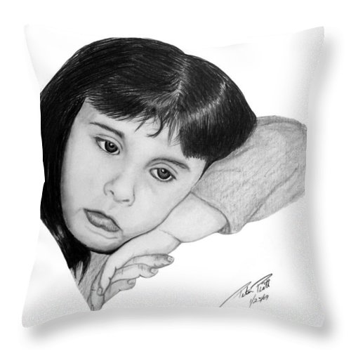 Portrait Sketch Throw Pillow featuring the drawing Dannie by Peter Piatt