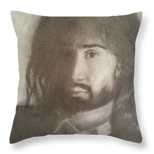 Danny Throw Pillow featuring the drawing Danny by Amelie Simmons