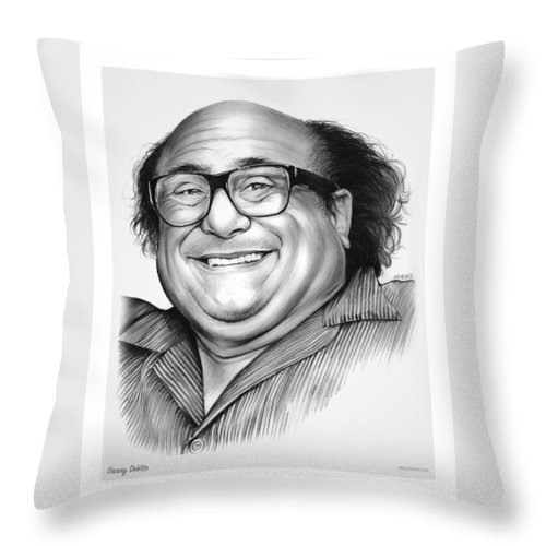 Dannydevito Throw Pillow featuring the drawing Danny DeVito by Greg Joens