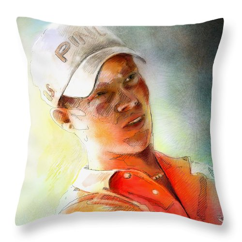Gold Portrait Painting Danny Willett Art Madrid Masters Pga Tour Throw Pillow featuring the painting Danny Willett In The Madrid Masters by Miki De Goodaboom