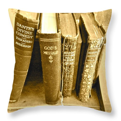 Photograph Of Old Books Throw Pillow featuring the photograph Dante God And Shakespeare ... by Gwyn Newcombe