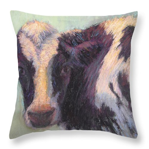 Cows Throw Pillow featuring the painting Daphney by Susan Williamson
