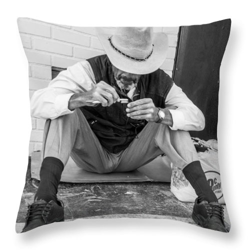 Fremont Street Experience Throw Pillow featuring the photograph Dapper Man With Toothbrush by SR Green