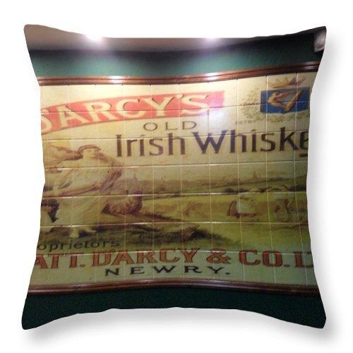 D'arcy's Old Irish Whiskey Throw Pillow featuring the photograph D'arcy's Old Irish Whiskey by John Hughes