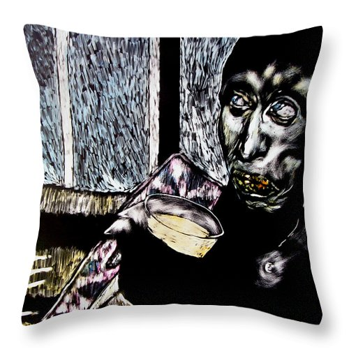 Social Commentary Throw Pillow featuring the mixed media Darfu In Our Living Room by Chester Elmore