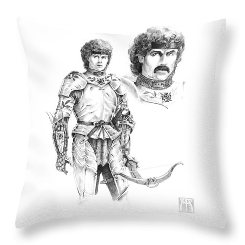 Knight Throw Pillow featuring the drawing Daria by Melissa A Benson