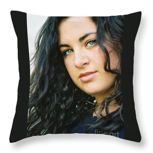 Blue Eyes Throw Pillow featuring the photograph Dark Beauty by Nadine Rippelmeyer