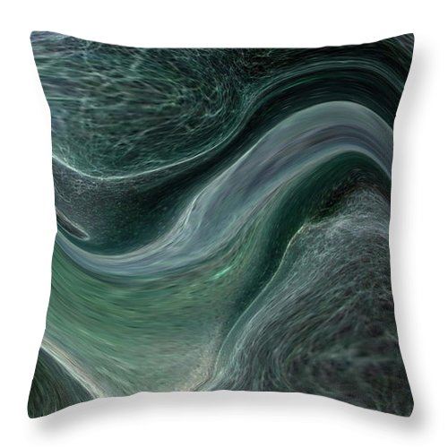 Abstract Throw Pillow featuring the photograph Dark Green Flow by Allan Hughes