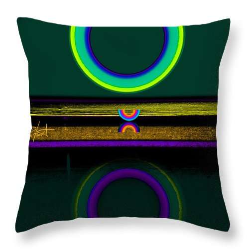 Reflections Throw Pillow featuring the painting Dark Green Lake by Charles Stuart