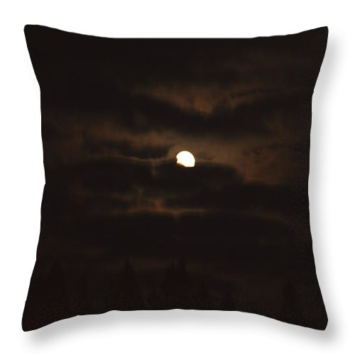 Moon Clouds Night Evening Light Cloudy Sky Trees Moonlight Moonlit Throw Pillow featuring the photograph Dark Night by Andrea Lawrence