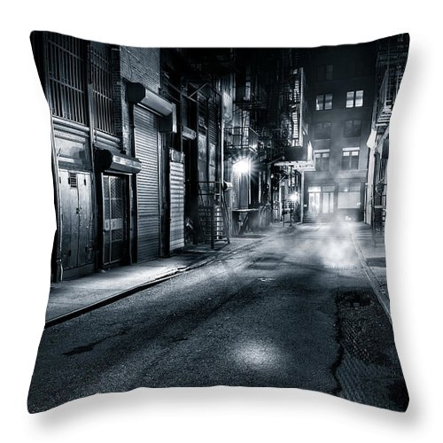 Chinatown Throw Pillow featuring the photograph Dark Nyc by Mihai Andritoiu