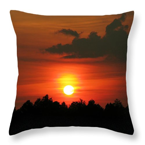 Nature Throw Pillow featuring the photograph Dark Sunset by Peg Urban