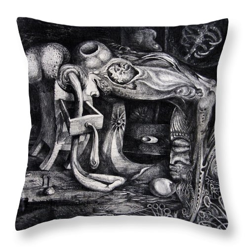 Drawing Throw Pillow featuring the drawing Dark Surprise by Otto Rapp