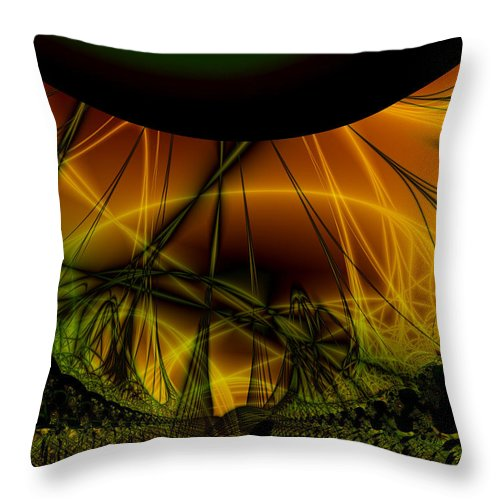 Abstract Throw Pillow featuring the digital art Dark Woods by Frederic Durville