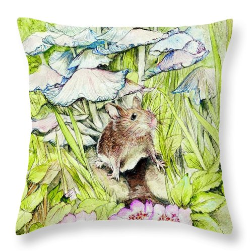 Darling Throw Pillow featuring the painting Darling Mouse by Morgan Fitzsimons
