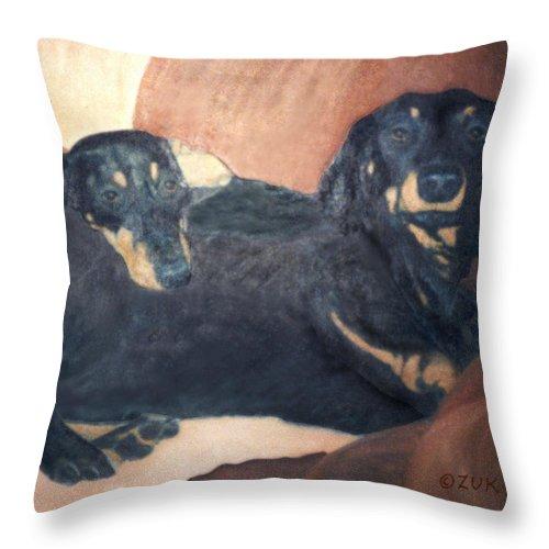 Karen Zuk Rosenblatt Art And Photography Throw Pillow featuring the painting Daschounds by Karen Zuk Rosenblatt