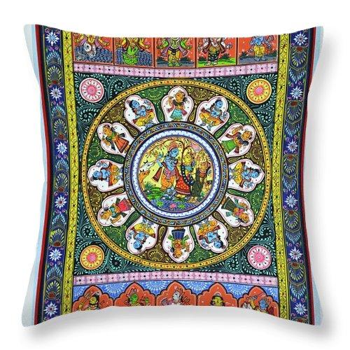 Throw Pillow featuring the painting Dashavtar 5 by Bal Krishna Bariki