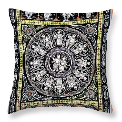 Throw Pillow featuring the painting Dashavtar B/w 6 by Bal Krishna Bariki