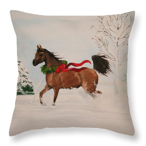 Horse Throw Pillow featuring the painting Dashing Thru The Snow by Jean Blackmer