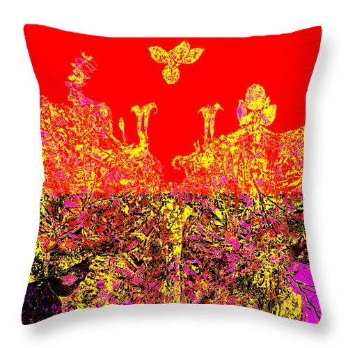 Square Throw Pillow featuring the digital art Datura Bird by Eikoni Images