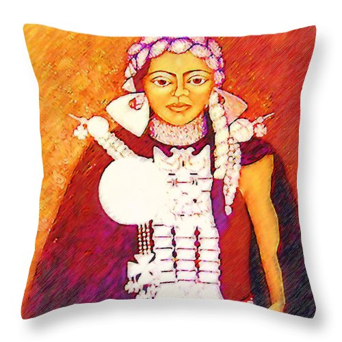 Portrait Throw Pillow featuring the painting Daughter Of The Bright Sun - Kushe by Madalena Lobao-Tello