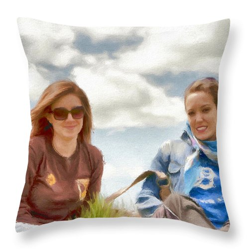 Canadian Throw Pillow featuring the painting Daughters by Jeffrey Kolker