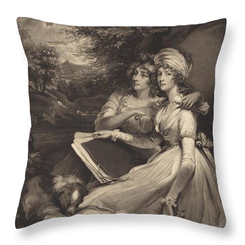 Throw Pillow featuring the drawing Daughters Of Sir Thomas Frankland Bart (the Sisters) by William Ward After John Hoppner