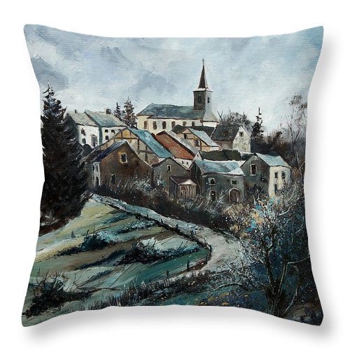 Village Throw Pillow featuring the painting Daverdisse 78 by Pol Ledent