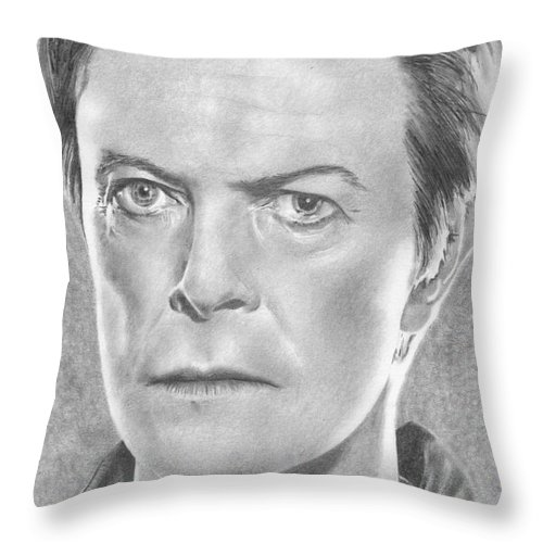 David Bowie Throw Pillow featuring the drawing David Bowie by Karen Townsend