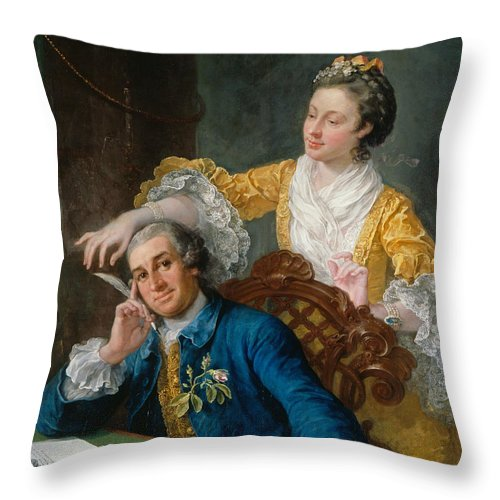 William Hogarth Throw Pillow featuring the painting David Garrick With His Wife Eva-maria Veigel by William Hogarth