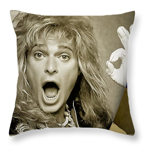 David Lee Roth Throw Pillow featuring the mixed media David Lee Roth Collection by Marvin Blaine