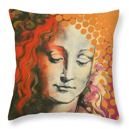 Figurative Throw Pillow featuring the painting Davinci's Head by Jean Pierre Rousselet