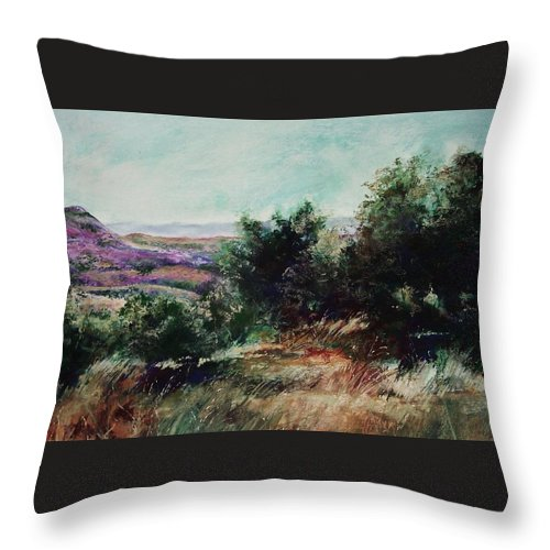 Pastel Throw Pillow featuring the painting Davis Mountain by Marlene Gremillion