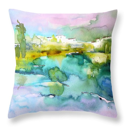 Watercolour Throw Pillow featuring the painting Dawn 02 by Miki De Goodaboom