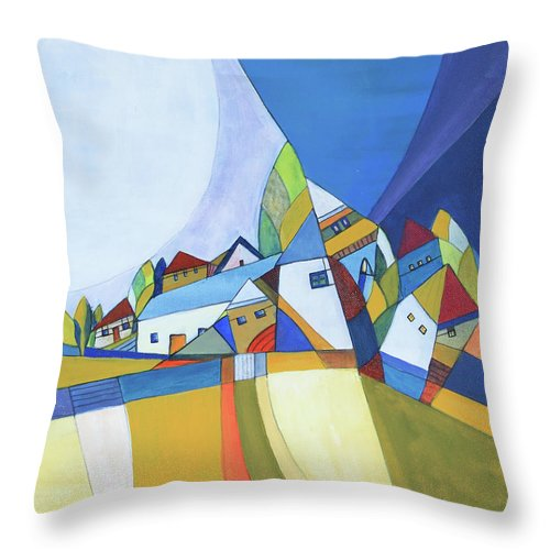 Acrylic Throw Pillow featuring the painting Dawn by Aniko Hencz