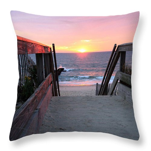Landscape Throw Pillow featuring the photograph Dawn At The Beach by Mary Haber