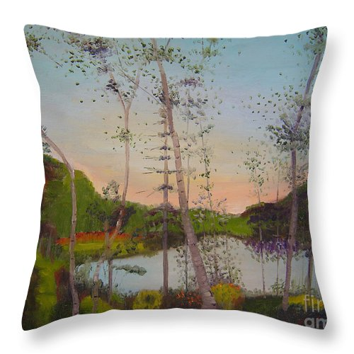 Landscape Throw Pillow featuring the painting Dawn By The Pond by Lilibeth Andre